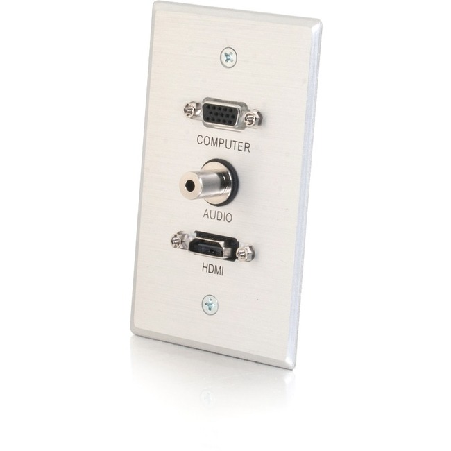 C2G Single Gang HDMI, HD15 VGA, and 3.5mm Wall Plate - Brushed Aluminum