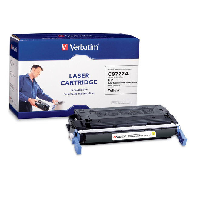 Verbatim HP C9722A Yellow Remanufactured Laser Toner Cartridge - TAA Compliant
