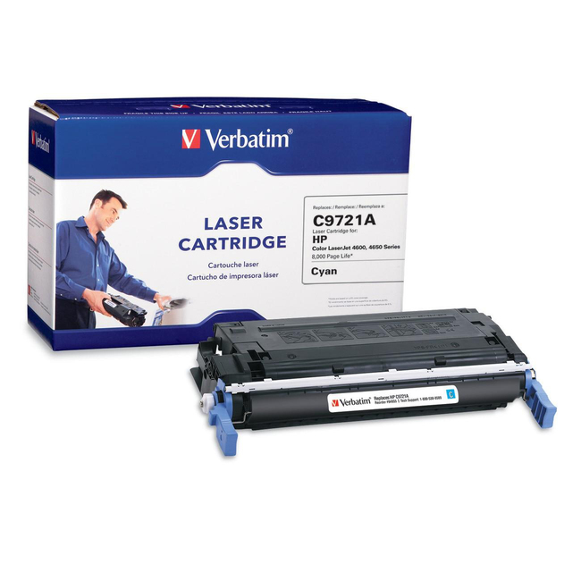 Verbatim HP C9721A Cyan Remanufactured Laser Toner Cartridge - TAA Compliant