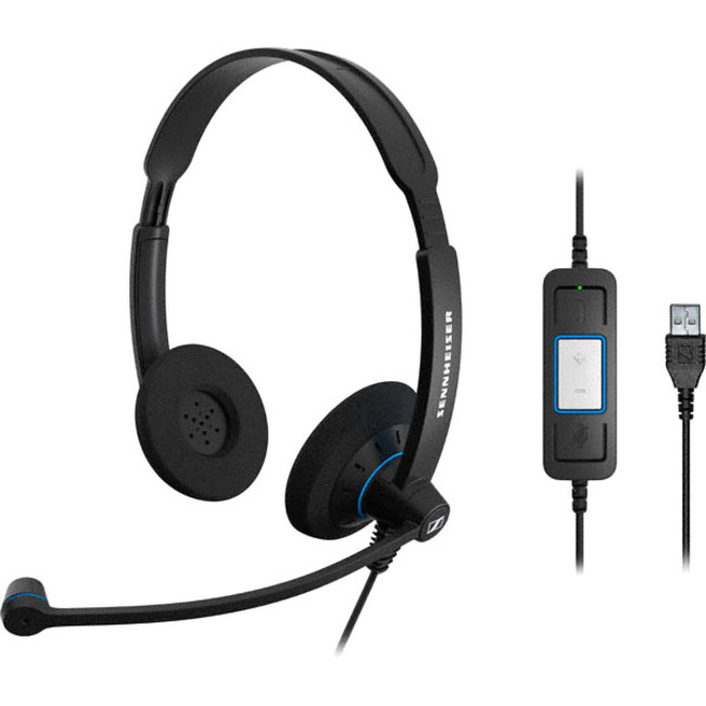 Sennheiser SC 60 USB CTRL Wired Stereo Headset - Over-the-head - Supra-aural - Black