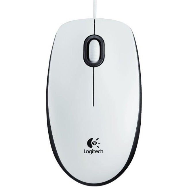 Logitech B100 Mouse - Optical - Cable - 3 Buttons - White