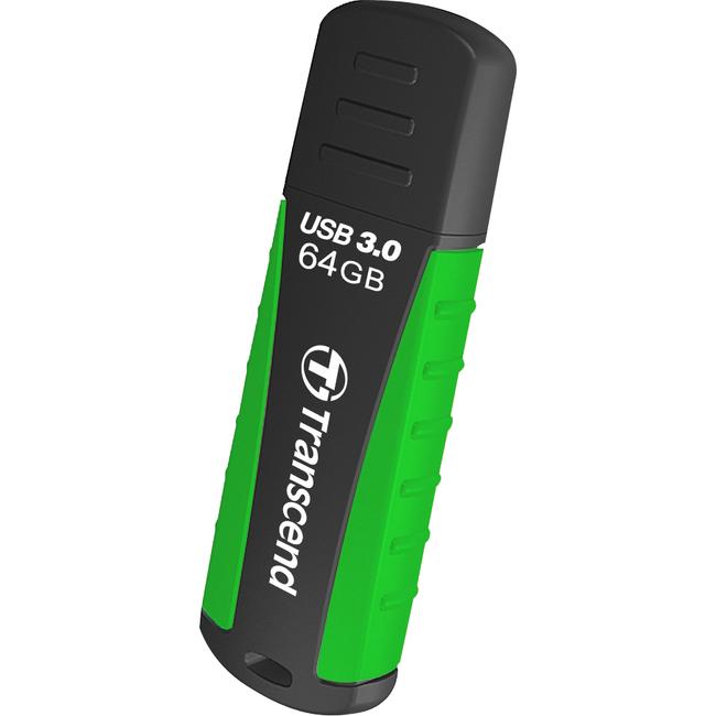 Transcend 64GB JetFlash 810 USB 3.0 Flash Drive - 64 GB - USB 3.0 - Black, Green - Lifetime Warranty