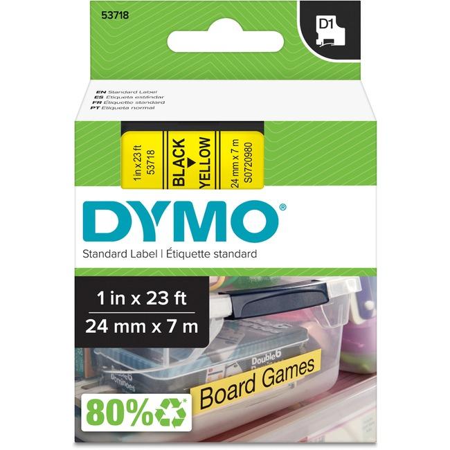 DYMO 1IN BLACK/YELLOW TAPE .