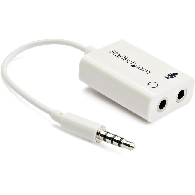 StarTech.com 3.5mm 4 Position to 2x 3 Position 3.5mm Headset Splitter Adapter M/F - White