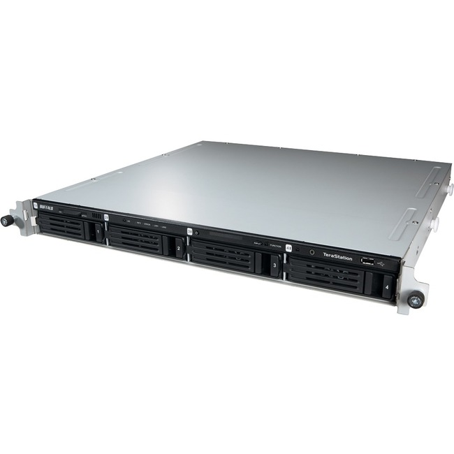 Buffalo TeraStation TS3400R0804 4 x Total Bays NAS Server - 1U - Rack-mountable - ARM Dual-core 2 Core 1.33 GHz - 8 TB HDD 4 x 2 TB - 1 GB RAM DDR3 SDRAM - Seria