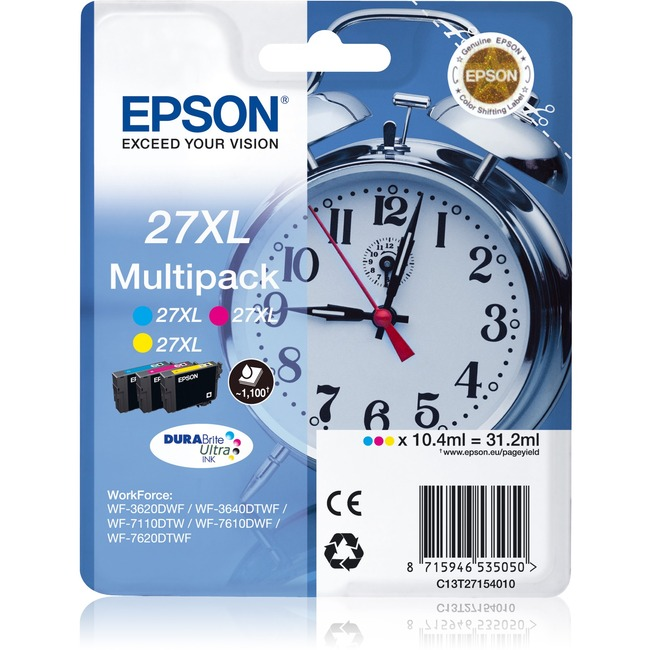 Epson DURABrite Ultra 27XL Ink Cartridge - Cyan, Magenta, Yellow