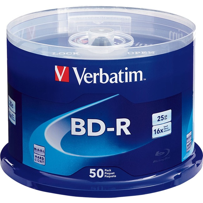 Verbatim BD-R 25GB 6X with Branded Surface - 50pk Spindle - TAA Compliant