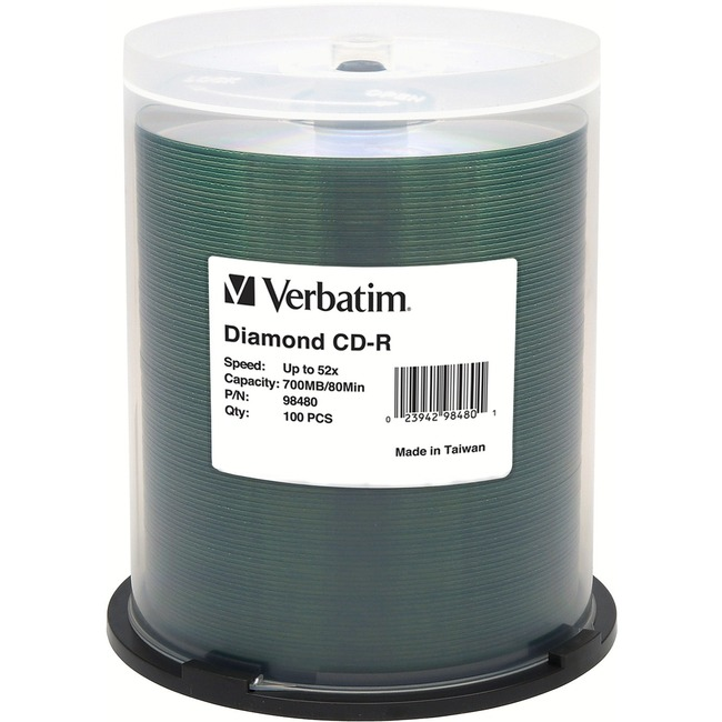 Verbatim CD-R 700MB 52X Diamond Silk Screen Printable, Hub Printable - 100pk Tape Wrap