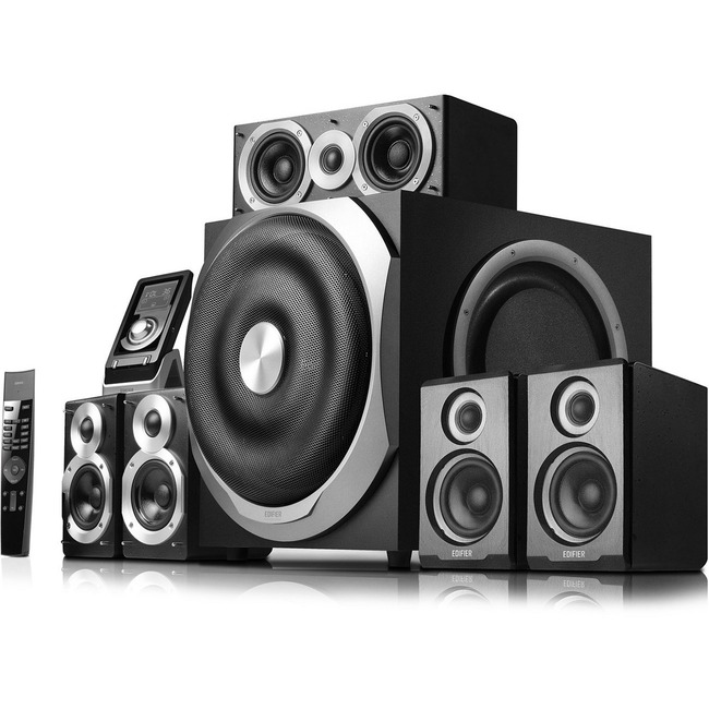 5.1 channel home theatre system with Dolby Digital, Dolby Pro Logic II, and DTS