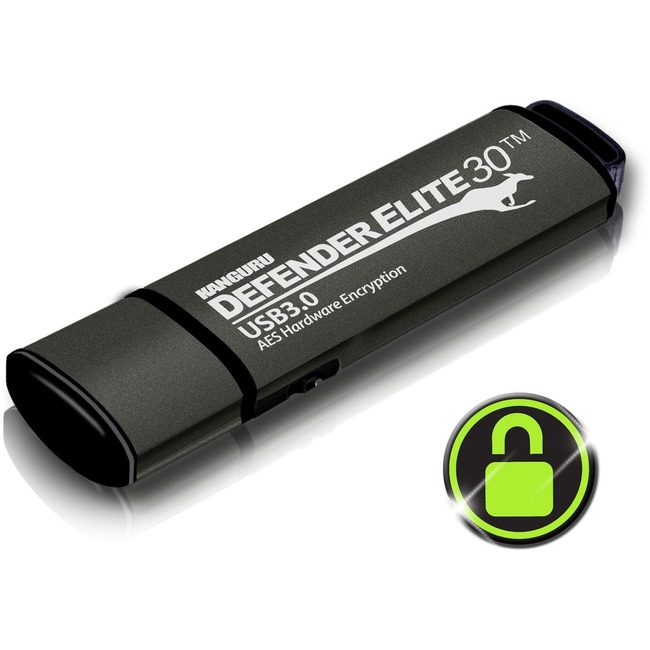 KANGURU SOLUTIONS 128GB DEFENDER ELITE 30 FLASH DRIVE USB3.0 AES HW ENCRYPT RUGGED