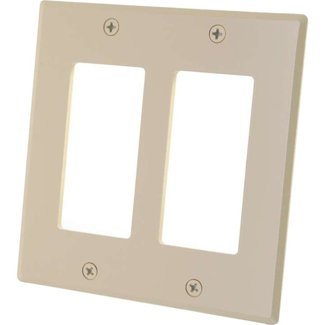 C2G Two Decora Compatible Cutout Double Gang Wall Plate - Ivory