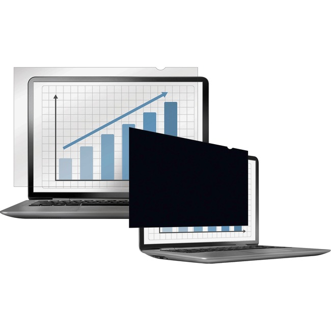 """Fellowes PrivaScreen Blackout Privacy Filter - 12.5"""" Wide Crystal Clear, Black"""