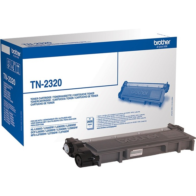 Brother TN-2320 Toner Cartridge - Black - Laser - High Yield - 2600 Page Per Cartridge - OEM
