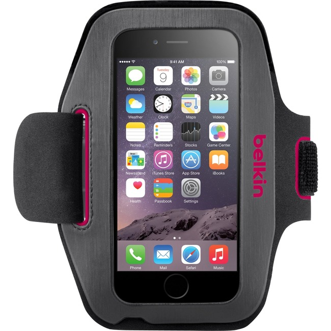 Belkin Sport-Fit Carrying Case Armband for iPhone - Blacktop, Fuschia - Neoprene - Armband