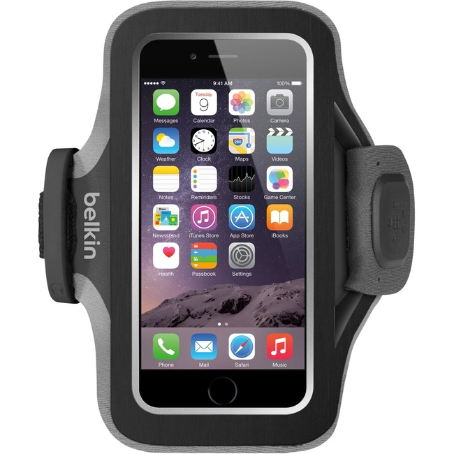 Belkin Slim-Fit Plus Carrying Case (Armband) for iPhone, Cable - Blacktop