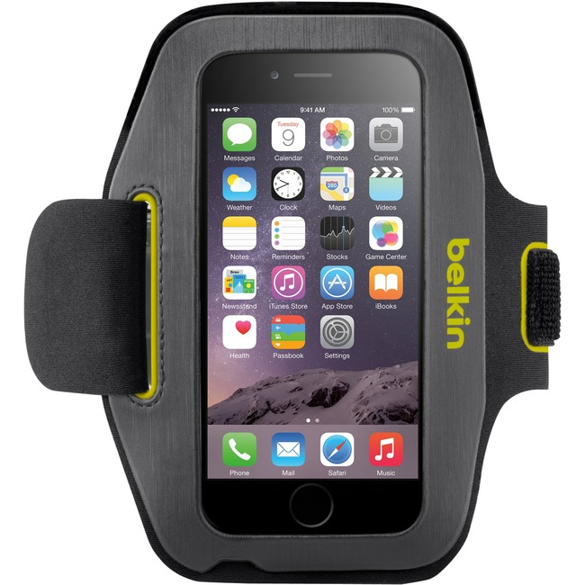 Belkin Sport-Fit Carrying Case (Armband) for iPhone 6 - Blacktop, Limelight