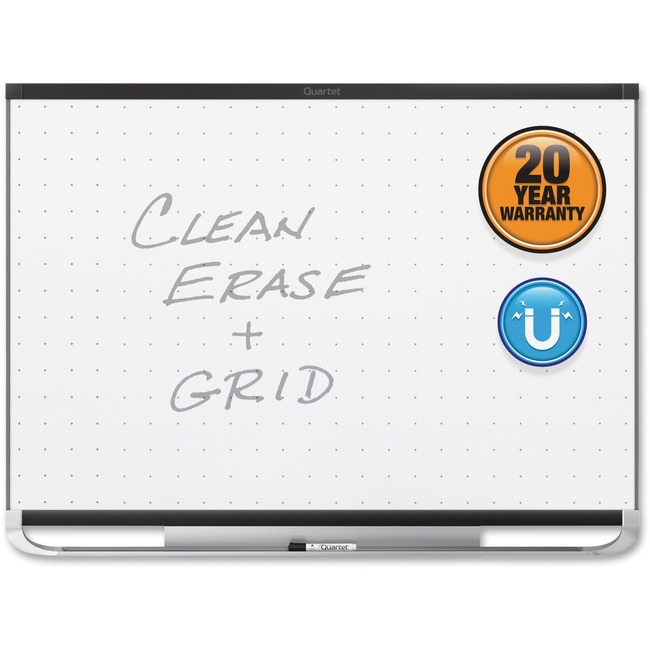 Quartet® Prestige® 2 Total Erase®Magnetic Whiteboard, 4' x 3', Black Aluminum Frame