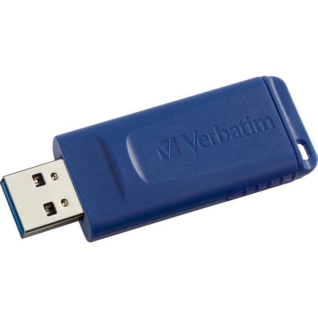 Verbatim 64GB USB Flash Drive - Blue - 64 GB - USB 2.0 - Blue - 5 Year Warranty - Lifetime Warranty - 1 / Each - TAA Compliant