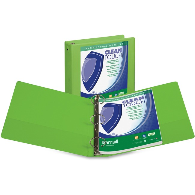 Samsill Lime Green Clean Touch Antimicrobial View Binder