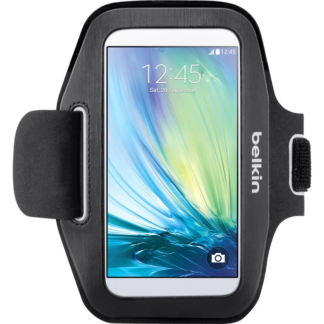 Belkin Sport-Fit Carrying Case Armband for Smartphone - Black - Sweat Resistant - Neoprene - Armband