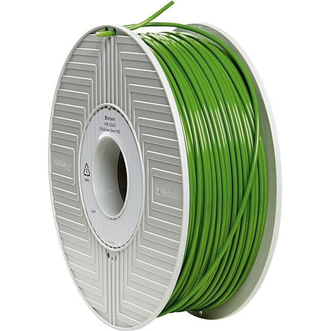 Verbatim PLA 3D Filament 3mm 1kg Reel - Green - TAA Compliant