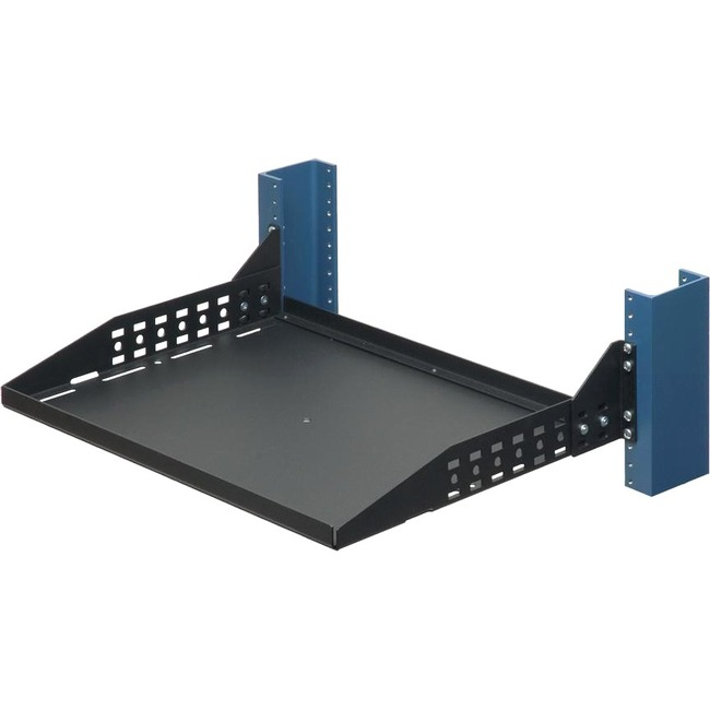 2POST RELAY RACK SHELF 13IN DEEP BLACK SOLID WITH 150LB 68 KBS WEIGHT CAPACIT