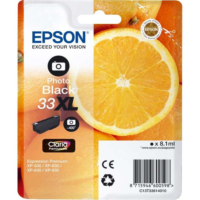 Epson Claria 33XL Ink Cartridge - Photo Black - Inkjet - 400 Page - 1 / Blister Pack