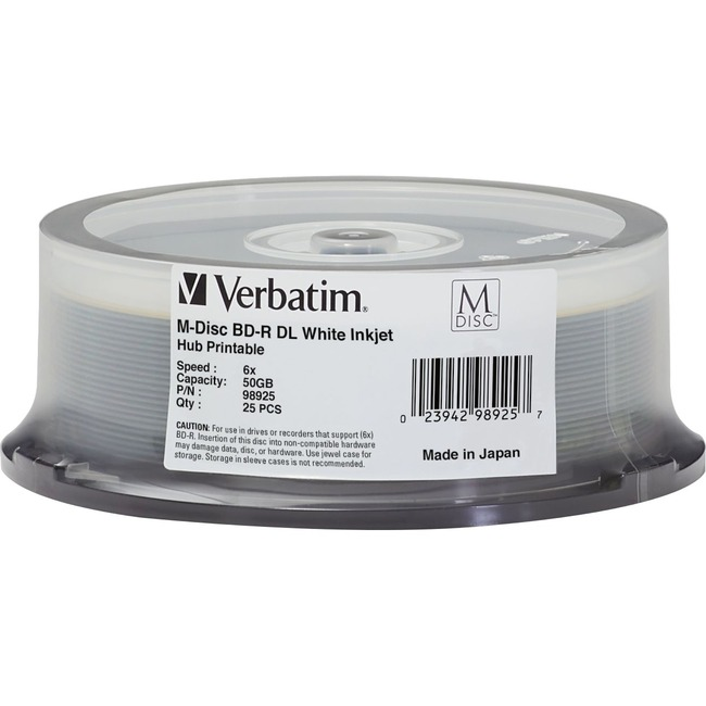 Verbatim Blu-ray Recordable Media - BD-R DL - 6x - 50 GB - 25 Pack Spindle - TAA Compliant