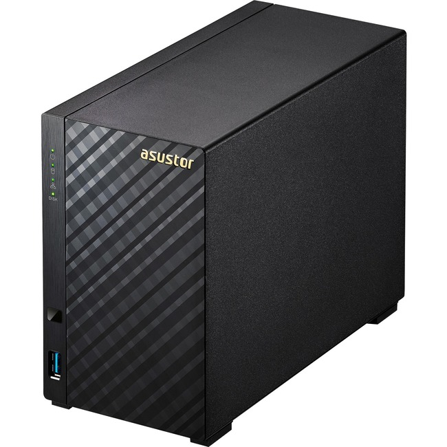 ASUSTOR AS3102T 2Bay Asustor NAS, Intel Celeron Dual-Core, 2 GB SO-DIMM DDR3L, GbE x 2, USB 3.0 & eSATA, WoL, System Sleep Mode, AES-NI hardware encryption, Tool-less Design, Real 4K Playback