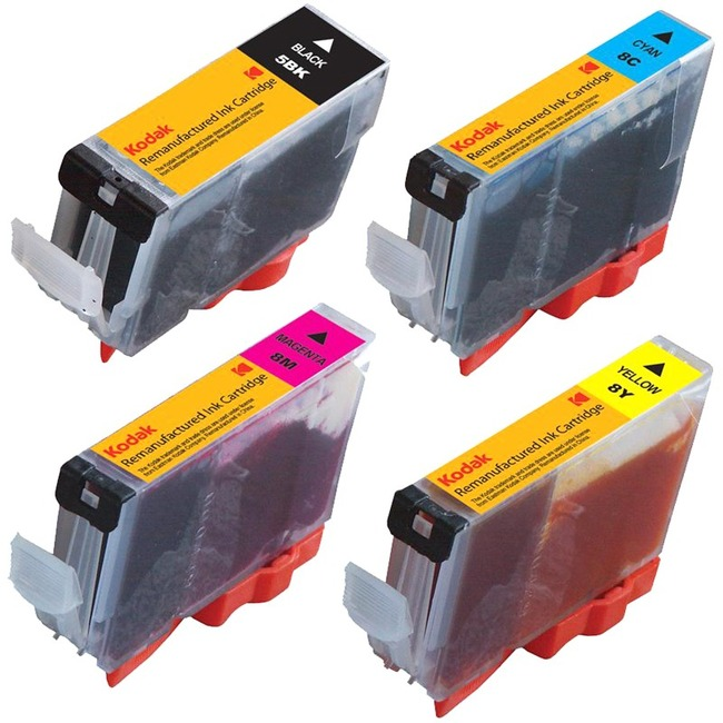 eReplacements Remanufactured Ink Cartridge - Alternative for Canon, Kodak (0628B027, 0628B027-KD, CLI-8 COMBO, CLI-8BK,