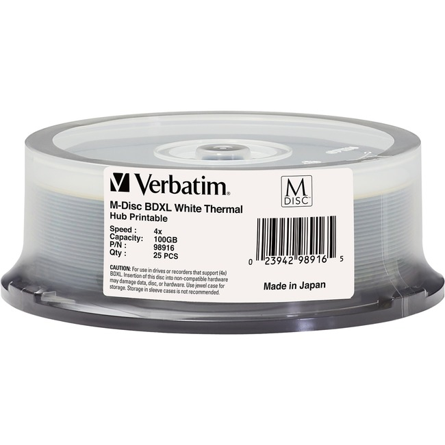 Verbatim Blu-ray Recordable Media - BD-R XL - 4x - 100 GB - 25 Pack Spindle