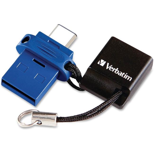 Verbatim USB-C Store 'n' Go Dual USB Flash Drive - 64 GB - USB Type C, USB 3.0 - Blue - Lifetime Warranty - 1 Each - TAA Compliant