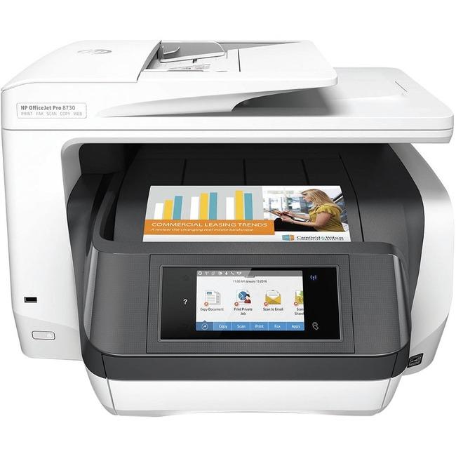 HP OfficeJet Pro 8730 e-All-in-One Printer - Inkjet Multifunction Printer - Color - Plain Paper Print - Desktop