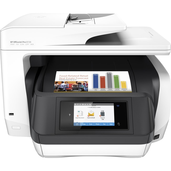 HP Officejet Pro 8720 Inkjet Multifunction Printer - Color