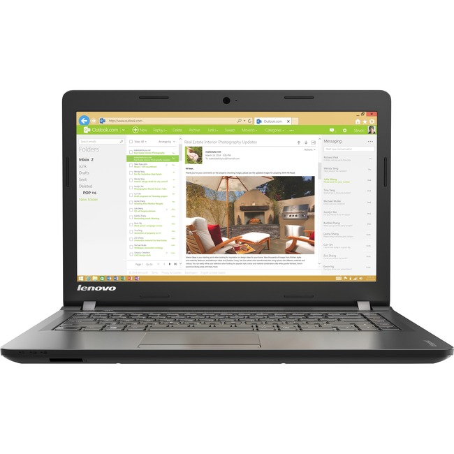 "Lenovo IdeaPad 100-14IBY 80MH007YUS 14"" 16:9 Notebook - 1366 x 768 - Twisted nematic (TN) - Intel Pentium N3540 Quad-cor"