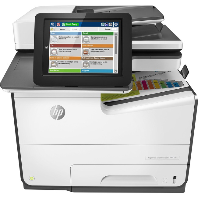 HP PageWide Enterprise 586f Page Wide Array Multifunction Printer - Color - Plain Paper Print - Desktop