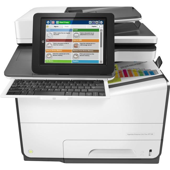 HP PageWide Enterprise 586z Page Wide Array Multifunction Printer - Color - Plain Paper Print - Desktop