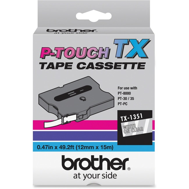 Brother P-Touch White on Clear Tape