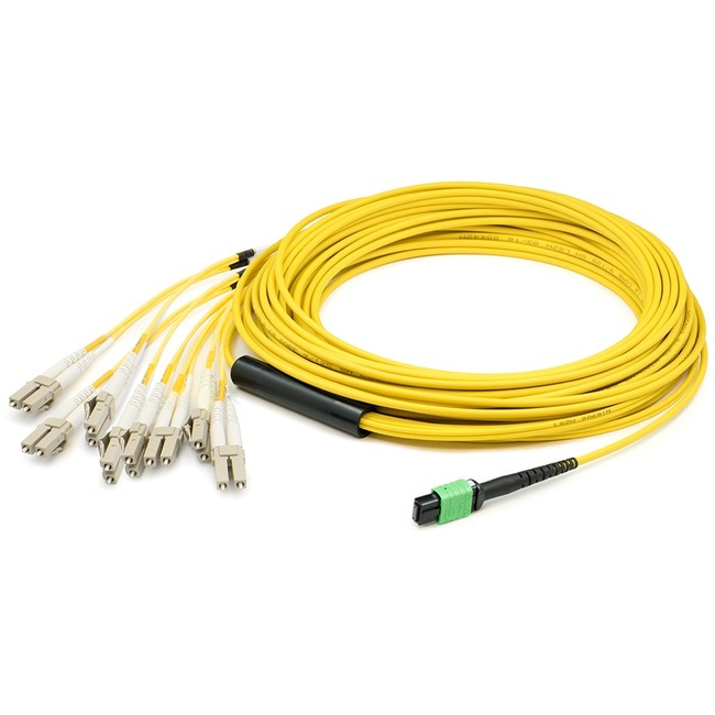 AddOn 0.5m MPO (Female) to 8xLC (Male) 8-strand Yellow OS1 Fiber Fanout Cable