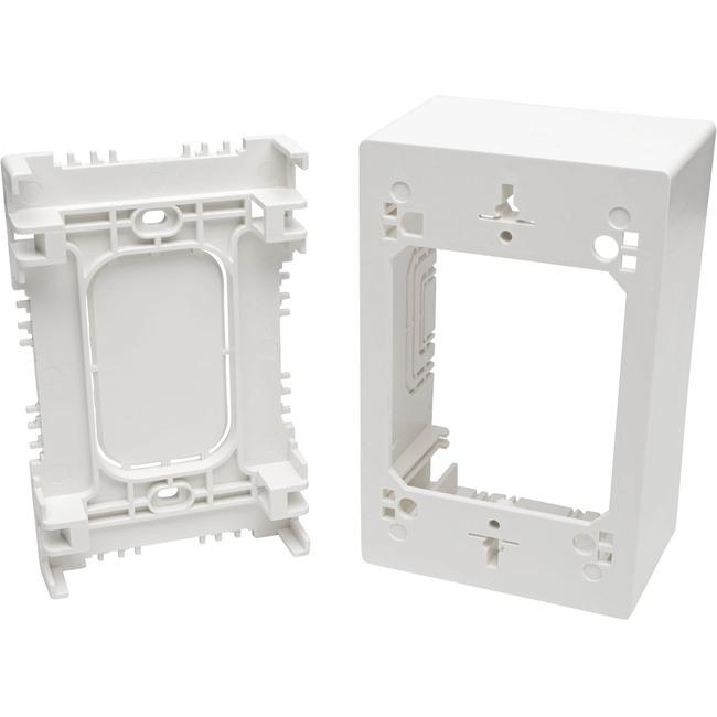 Tripp Lite Single-Gang Surface-Mount Junction Box, White - 1-gang - White - Acrylonitrile Butadiene Styrene (ABS), Thermoplastic - TAA Compliant