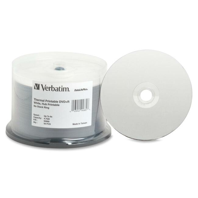 Verbatim DVD+R 4.7GB 8X DataLifePlus White Thermal Printable, Hub Printable - 50pk Spindle - TAA Compliant