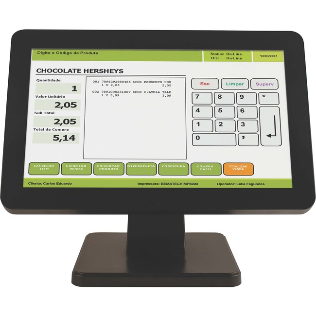 "Bematech LE1015W 15.6"" LCD Touchscreen Monitor - 12 ms"