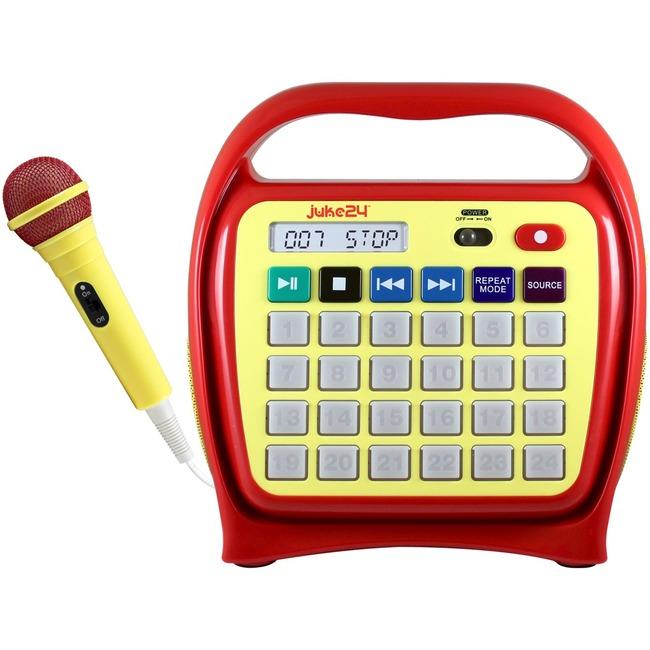 Hamilton Buhl Juke24 Portable Digital Jukebox with CD Player & Karaoke, Red/Yellow