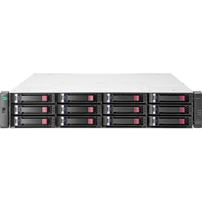HP 2042 SAN Array - 12 x HDD Supported - 98 TB Supported HDD Capacity - 2 x SSD Installed - 800 GB Installed SSD Capacit