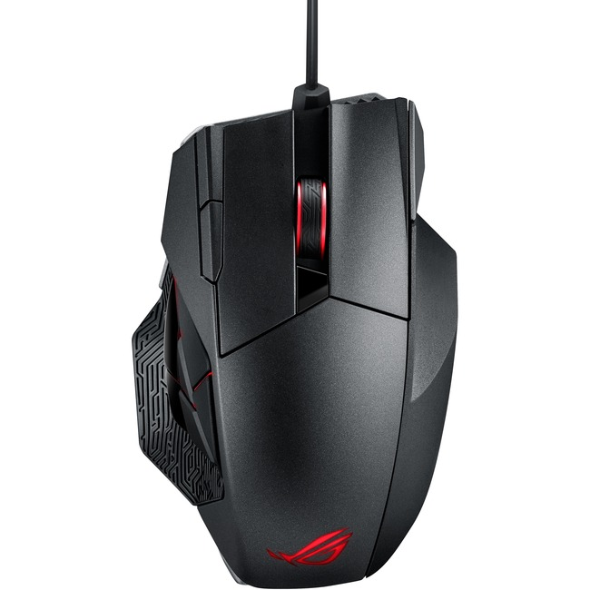 ASUS ROG Spatha Mouse - Laser - Cable/Wireless - 12 Buttons - Titanium Black