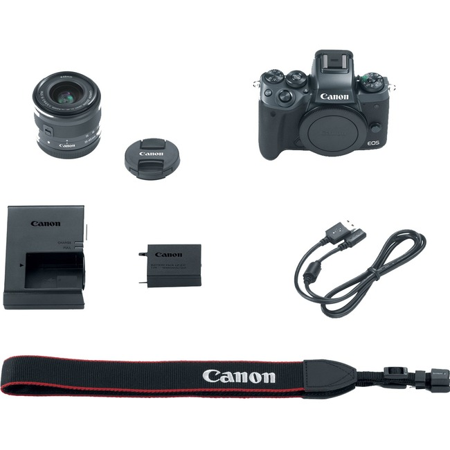 Canon EOS M5 24.2 Megapixel Mirrorless Camera with Lens - 15 mm - 45 mm - Black