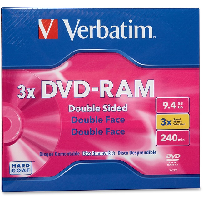 Verbatim DVD-RAM 9.4GB 3X Double Sided, Type 4 with Branded Surface - 1pk with Cartridge - TAA Compliant
