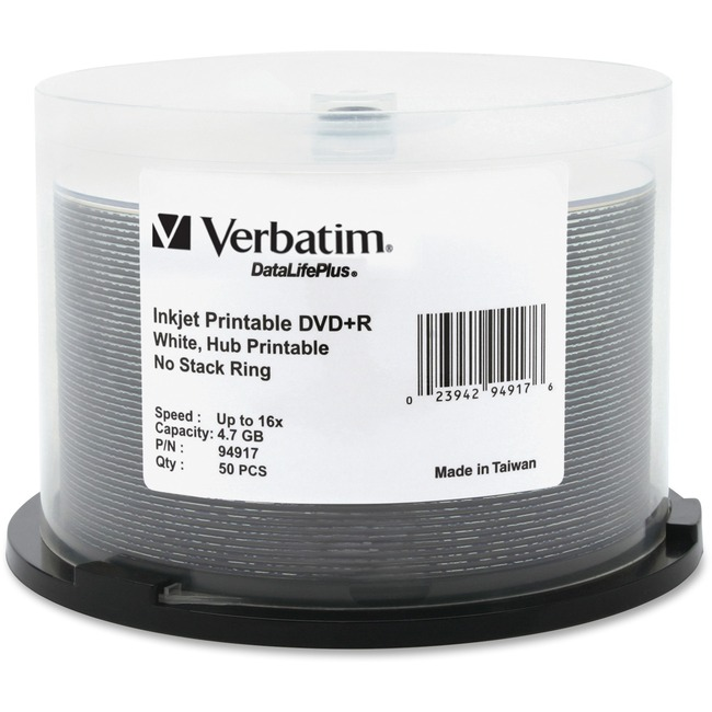 Verbatim DVD+R 4.7GB 16X DataLifePlus White Inkjet Printable, Hub Printable - 50pk Spindle - TAA Compliant