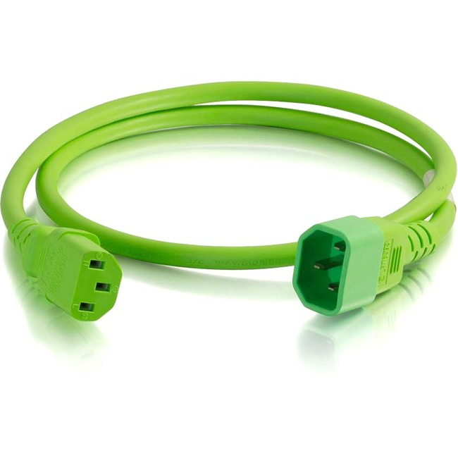 C2G 10ft 14AWG Power Cord (IEC320C14 to IEC320C13)   Green