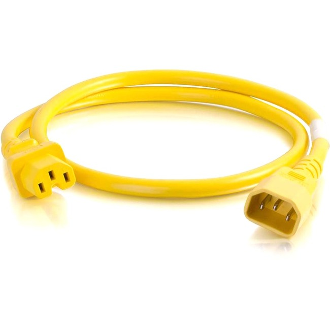 C2G 10ft 14AWG Power Cord (IEC320C14 to IEC320C13) | Yellow